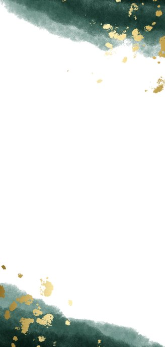 Trouwkaart tijdlijn waterverf gouden tekst Achterkant