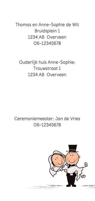Trouwkaart trouwauto met bruidspaar 2