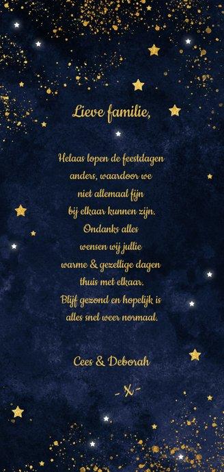 Twinkeling stars voor de donkere dagen voor kerst Achterkant