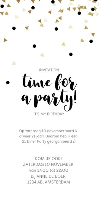Uitnodiging 21 Diner party confetti zwart wit Achterkant