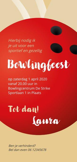 Uitnodiging 50 bowlingfeest Achterkant