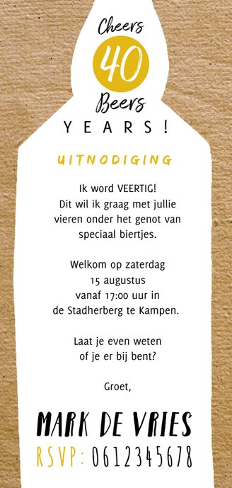 Uitnodiging Cheers & Beers in papierlook Achterkant