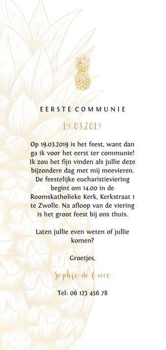 Uitnodiging communie gouden ananas langwerpig Achterkant