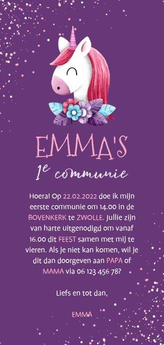 Uitnodiging communie unicorn met confetti en foto Achterkant