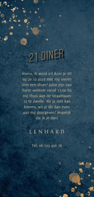Uitnodiging donkerblauw 21 diner met gouden accenten Achterkant
