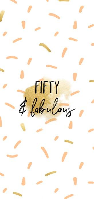 Uitnodiging fifty & fabulous met polaroid foto en confetti 2