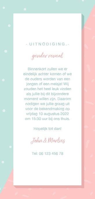 Uitnodiging gender reveal hij of zij met confetti Achterkant
