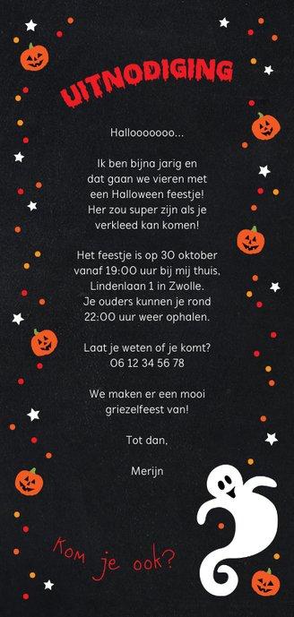 Uitnodiging Halloween party kinderen Achterkant