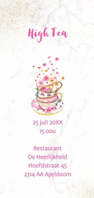 Uitnodiging High Tea kopjes bloemen 2