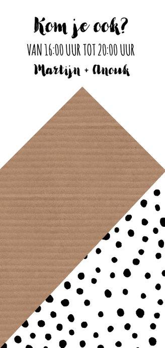 Uitnodiging housewarming grafisch zwart-wit huis en stippen Achterkant
