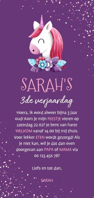 Uitnodiging kinderfeestje unicorn met confetti en foto Achterkant