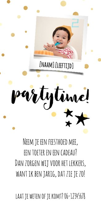 Uitnodiging kinderverjaardag met confetti  Achterkant