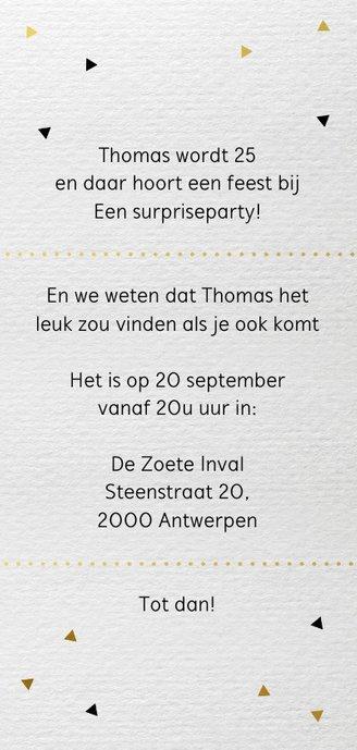 Uitnodiging Party driehoek papier Achterkant