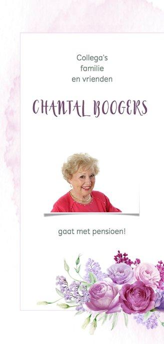 Uitnodiging pensioen paarse bloemen 2