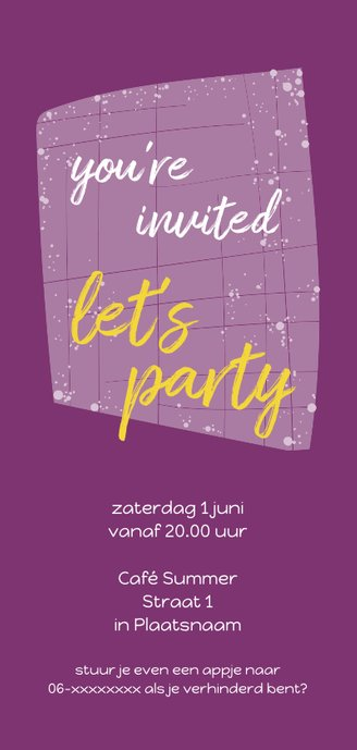 Uitnodiging sweet 16 party Achterkant