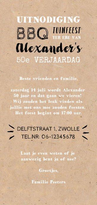 Uitnodiging tuinfeest/BBQ met illustraties op kraft papier Achterkant