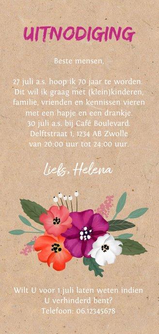 Uitnodiging verjaardag kraft met vrolijke bloemen en foto Achterkant