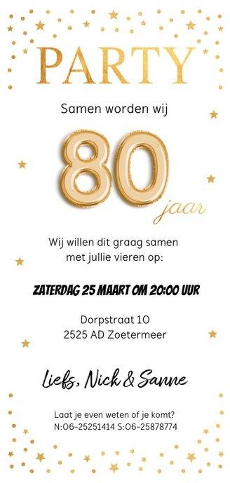 Uitnodiging verjaardag samen 80 jaar goud confetti Achterkant