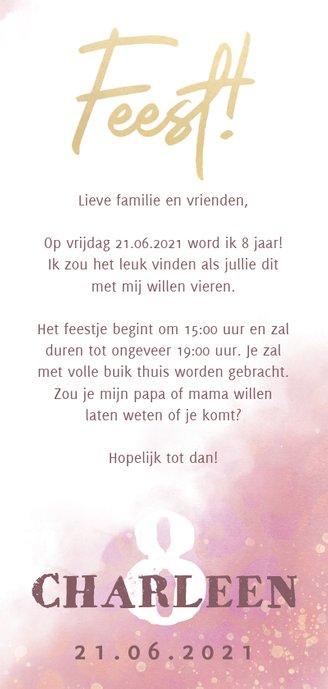 Uitnodiging voor kinderfeestje met waterverf en panterprint 3