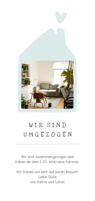 Umzugskarte Foto in Haus Rückseite