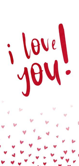 Valentijnskaart I love you met hartjes confetti 2