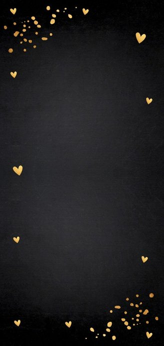 Valentijnskaart langwerpig foto goud confetti 2