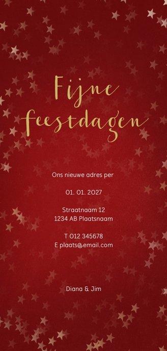 Verhuiskaart kerst langwerpig met huisje - Een gouden kerst Achterkant