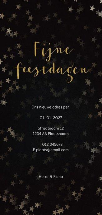Verhuiskaart kerst langwerpig zwart met huis van goud Achterkant
