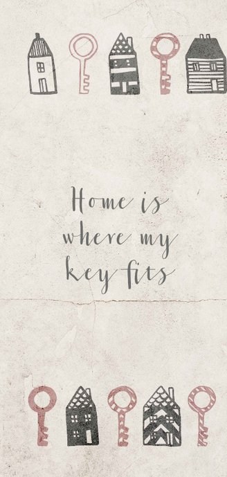 Verhuiskaart langwerpig met huisjes en sleutels 2