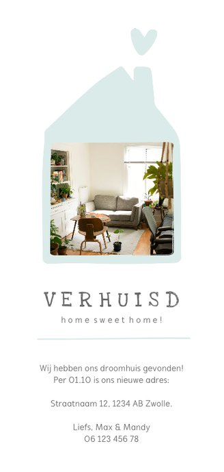 Verhuiskaart met lief huisje en foto langwerpig Achterkant