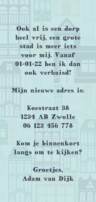 Verhuiskaart 'NEW HOME' met geïllustreerde huizen Achterkant