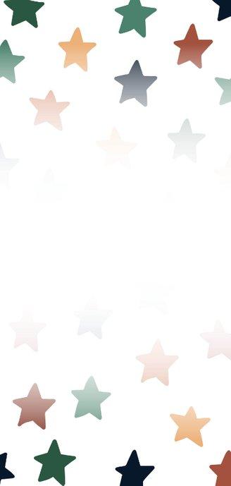 Vrolijke nieuwjaarskaart met gekleurde sterren Achterkant