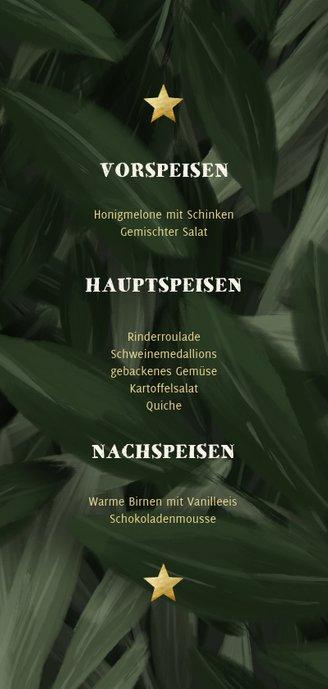Weichnachts-Menükarte mit Dschungel Blättern und Lichtern Rückseite