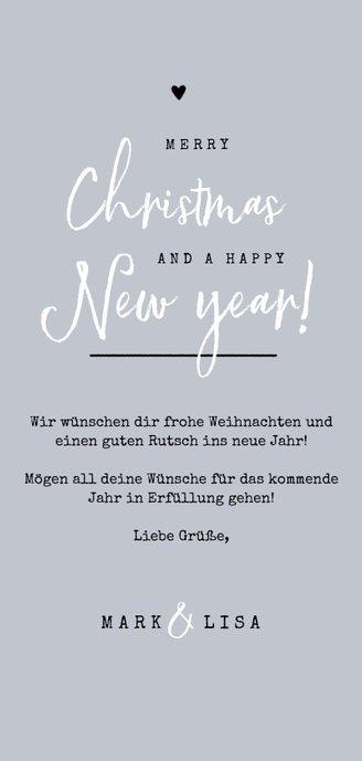 Weihnachtskarte & Neujahrskarte mit Foto und Tannenzweigen Rückseite