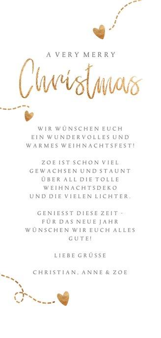 Weihnachtskarte Fotos und Goldherzchen Rückseite