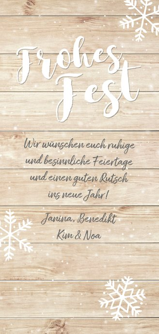 Weihnachtskarte Frohes Fest zwei Fotos auf Holz Rückseite