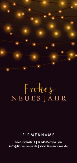 Weihnachtskarte geschäftlich mit Lichterketten Rückseite