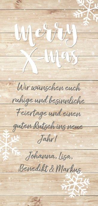 Weihnachtskarte 'merry x-mas' zwei Fotos auf Holz Rückseite