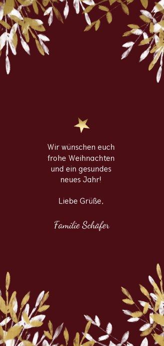 Weihnachtskarte mit Foto und goldenen & weißen Zweigen Rückseite