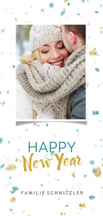 Weihnachtskarte mit Foto und Konfetti Rückseite