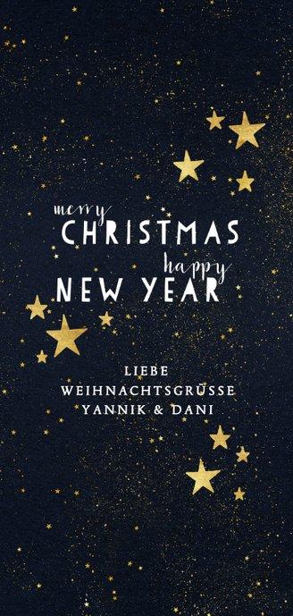 Weihnachtskarte mit Fotos und Sternen auf Schwarz Rückseite