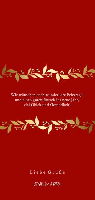Weihnachtskarte mit zwei Fotos und Blätter-Girlande Rückseite