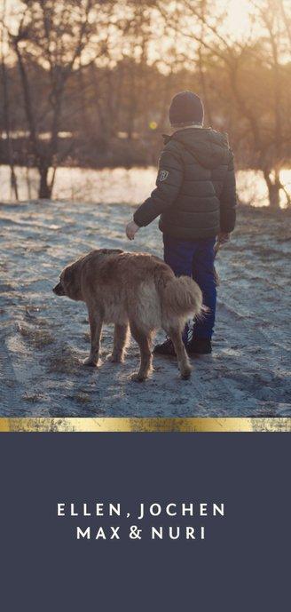 Weihnachtskarte mit zwei Fotos und Goldakzenten Rückseite