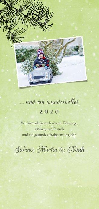 Weihnachtskarte Tannenzweig und Schnee Rückseite