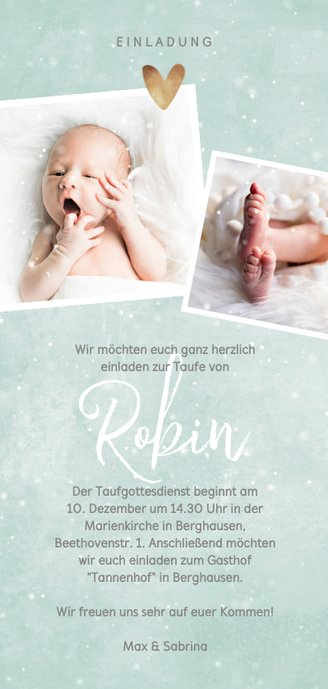 Winterliche Einladung zur Taufe blaugrün mit Foto Rückseite