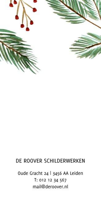 Zakelijke kerstkaart met kersttakken en rode besjes en logo Achterkant