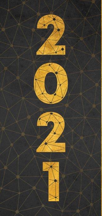 Zakelijke nieuwjaarskaart verbinding thema gouden 2021 2