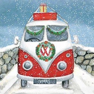leuke kerstkaart van een vw busje in de sneeuw | kaartje2go