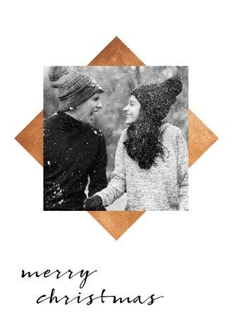 Weihnachtskarten Mit Eigenem Bild.Weihnachtskarte Mit Eigenem Foto Und Goldenen Quadraten
