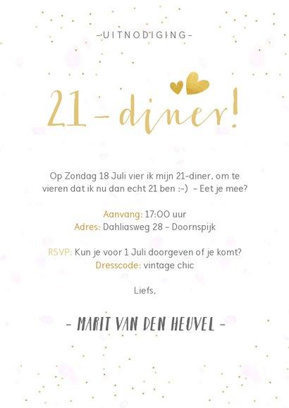 21-diner uitnodiging fotocollage met 3 eigen foto's 3